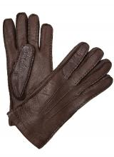 Moreschi Vail Genuine Peccary & Cashmere Gloves Brown Image