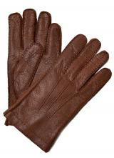 Moreschi Vail Genuine Peccary & Cashmere Gloves Tan Image