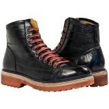 Paolo Shoes Dominic Eel Desert Boots Black Image