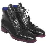 Paul Parkman Embossed Crocodile & Calfskin Side Zipper Boots Black Image