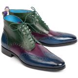 Paul Parkman Leather Wingtip Ankle Boots Three Tone Blue Purple Green Image