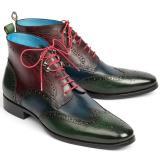 Paul Parkman Leather Wingtip Ankle Boots Three Tone Green Blue Bordeaux Image