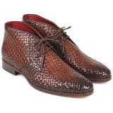 Paul Parkman Woven Leather Chukka Boots Brown Image