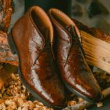 Zelli Marco Ostrich Chukka Boots Brown Image