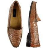 Zelli Massimo Crocodile Loafers Cognac Image