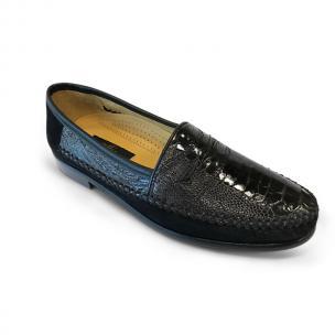 Zelli Suede & Ostrich Leg Loafers Dark Brown/Black Image