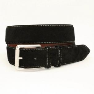 Torino Leather 38mm European Suede Contrast Stitch Belt - Black Image