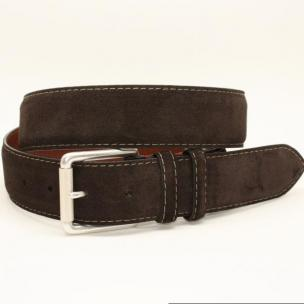 Torino Leather 38mm European Suede Contrast Stitch Belt - Brown Image