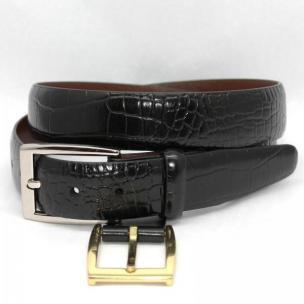 Torino Leather Big & Tall Alligator Embossed Calf Belt - Black Image
