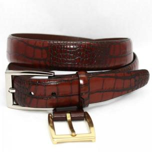 Torino Leather Alligator Embossed Calf Belt - Cognac Image