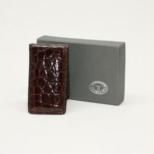 Torino Leather Alligator Magnetic Money Clip - Brown Image