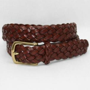 Torino Leather Braided Harness Leather Belt - Dark Tan Image