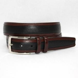 Torino Leather Bulgaro Calf Inlay Belt - Black/Brown Image