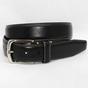 Torino Leather Burnished Tumbled Glove Belt - Black Image