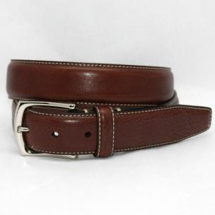Torino Leather Burnished Tumbled Glove Belt - Brown Image