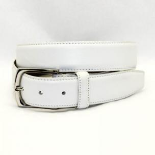 Torino Leather Burnished Tumbled Glove Belt - White Image