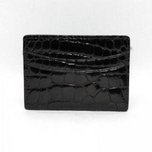 Torino Leather Genuine Alligator Card Case - Black Image