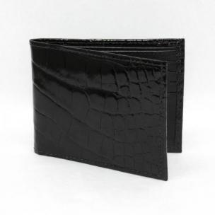 Torino Leather Genuine Alligator Flat Fold Wallet - Black Image
