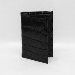 Torino Leather Genuine Alligator Gusseted Card Case - Black Image