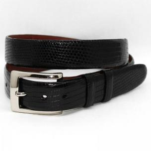 Torino Leather Genuine Lizard 30mm Belt - Black Image