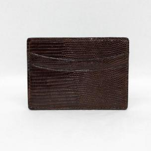 Torino Leather Genuine Lizard Card Case - Brown Image