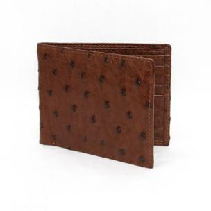 Torino Leather Genuine Ostrich Billfold Wallet - Brown Image