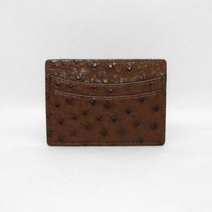 Torino Leather Genuine Ostrich Card Case - Brown Image
