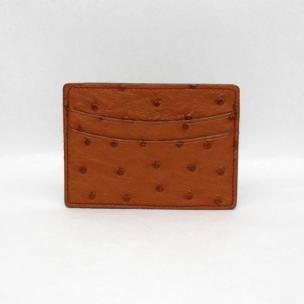 Torino Leather Genuine Ostrich Card Case - Saddle Image