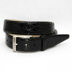 Torino Leather Big & Tall Glazed South American Caiman Crocodile Belt - Black Image