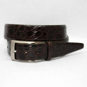 Torino Leather Big & Tall Glazed South American Caiman Crocodile Belt - Brown Image
