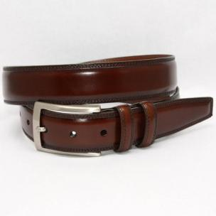 Torino Leather Hand Stained Italian Calf Belt - Brown Image