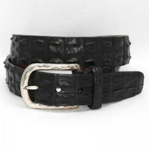 Torino Leather Hornback Crocodile Belt Nickel Buckle - Black Image