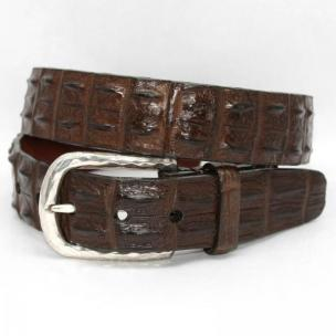 Torino Leather Hornback Crocodile Belt Nickel Buckle - Brown Image