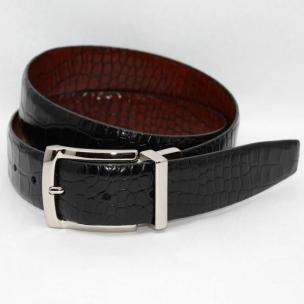 Torino Leather Italian Alligator Embossed Calf Belt - Black/Cognac Image