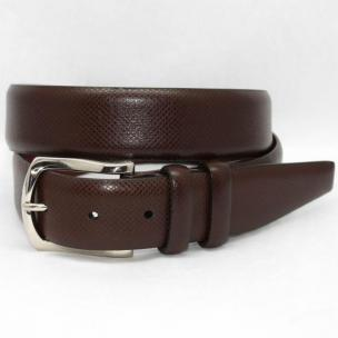 Torino Leather Italian Ribbed Calf Belt - Brown Image