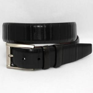 Torino Leather Italian Ribbed Calf Belt - Black Image