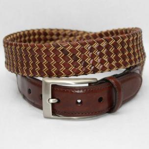 Torino Leather Big & Tall Italian Tubular Braided Kipskin & Cotton Belt - Cognac/Natural Image