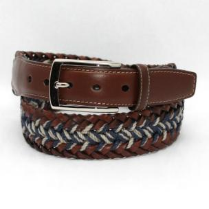 Torino Leather  Italian Woven Bonded & Linen Belt Calf Tabs - Cognac/Navy/Tan Image