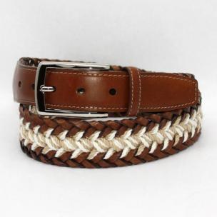 Torino Leather  Italian Woven Bonded & Linen Belt Calf Tabs - Cream/Khaki/Tan Image