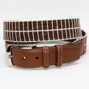Torino Leather Italian Woven Cork & Waxed Cotton Belt - Brown/Cream Image