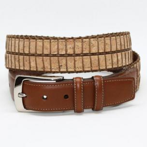 Torino Leather Italian Woven Cork & Waxed Cotton Belt - Camel/Tan Image