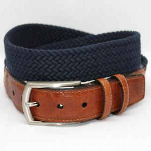 Torino Leather Italian Woven Cotton Elastic Belt - Navy Image