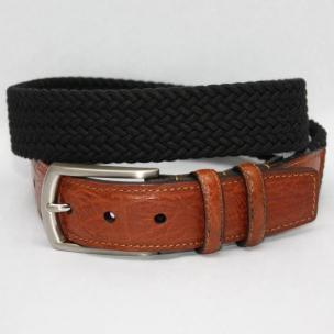 Torino Leather Italian Woven Cotton Elastic Belt - Black Image