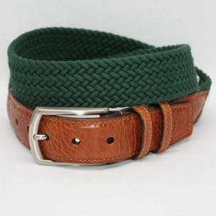 Torino Leather Italian Woven Cotton Elastic Belt - Forest Image