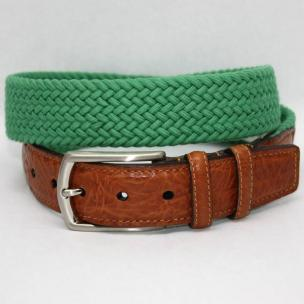 Torino Leather Italian Woven Cotton Elastic Belt - Kelly Green Image