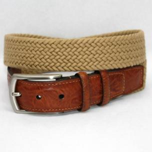 Torino Leather Big & Tall Italian Woven Cotton Elastic Belt - Khaki Image