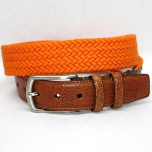 Torino Leather Italian Woven Cotton Elastic Belt - Orange Image