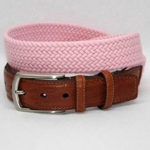 Torino Leather Italian Woven Cotton Elastic Belt - Pink Image
