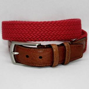 Torino Leather Italian Woven Cotton Elastic Belt - Red Image