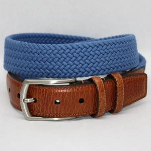 Torino Leather Italian Woven Cotton Elastic Belt - Royal Image
